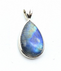 Large Teardrop Rainbow Moonstone Pendant Silver  'One-Off'